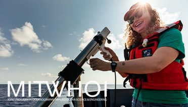 Ciara Willis deploys an expendable bathy-thermograph off of R/V <em>Neil Armstrong</em> while on the Ocean Twilight Zone Observation Network cruise in July of 2021. (Photo by Daniel Hentz, © Woods Hole Oceanographic institution)