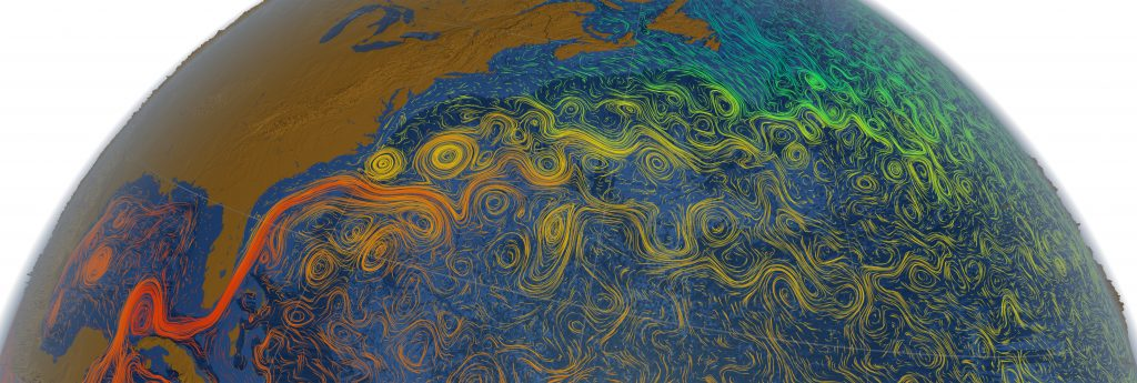 Swirling parcels of water, called ocean eddies, spin off from the warm Gulf Stream, the powerful northward-flowing current that hugs the U.S. East Coast before veering east across the Atlantic Ocean. This visualization was generated by a numerical model that simulates ocean circulation. WHOI researchers are studying western boundary ocean currents, like the Gulf Stream, and how their behavior can be associated with climate. Image Credit: NASA/Goddard Space Flight Center Scientific Visualization © NASA, Goddard Space Flight Center