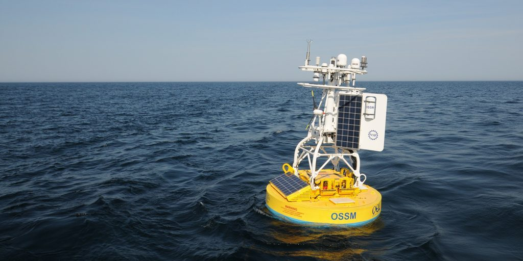 An observatory surface mooring deployed moorings off the New England Coast. (Woods Hole Oceanographic Institution)