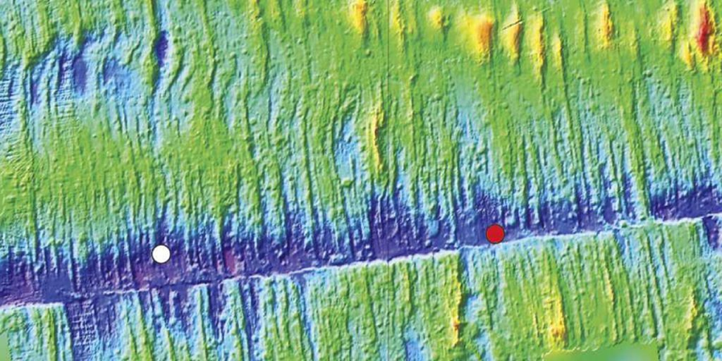 Bathymetric image of a mid-oceanic ridge. (Woods Hole Oceanographic Institution)