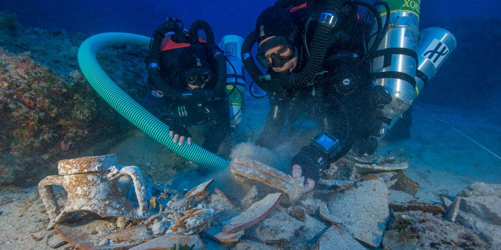 A research team exploring the Antikythera shipwreck in 2012 found several artifacts including this amphora, a ceramic jar used to store and transport goods. (Photo courtesy Brendan Foley, Woods Hole Oceanographic Institution)