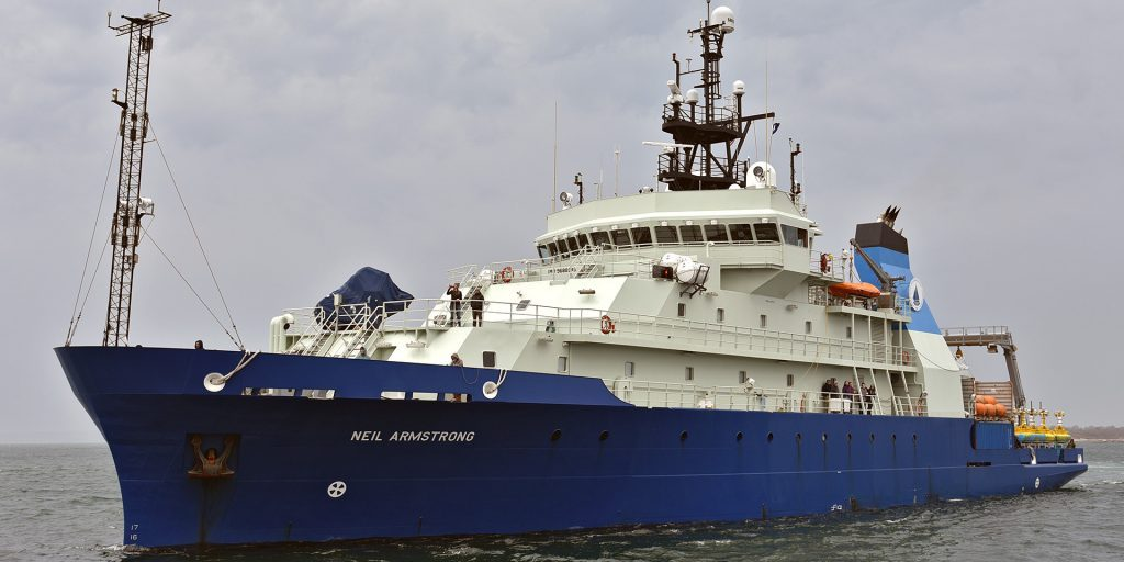 "In 2016, the research vessel <em>Neil Armstrong</em> replaced R/V <em>Knorr,</em> which the Institution has operated since 1970. Named for the American hero whose ""small step"" provided humanity with a new perspective on our planet, this vessel will carry on its namesake's legacy of exploration. (Veronique LaCapra, Woods Hole Oceanographic Institution)"