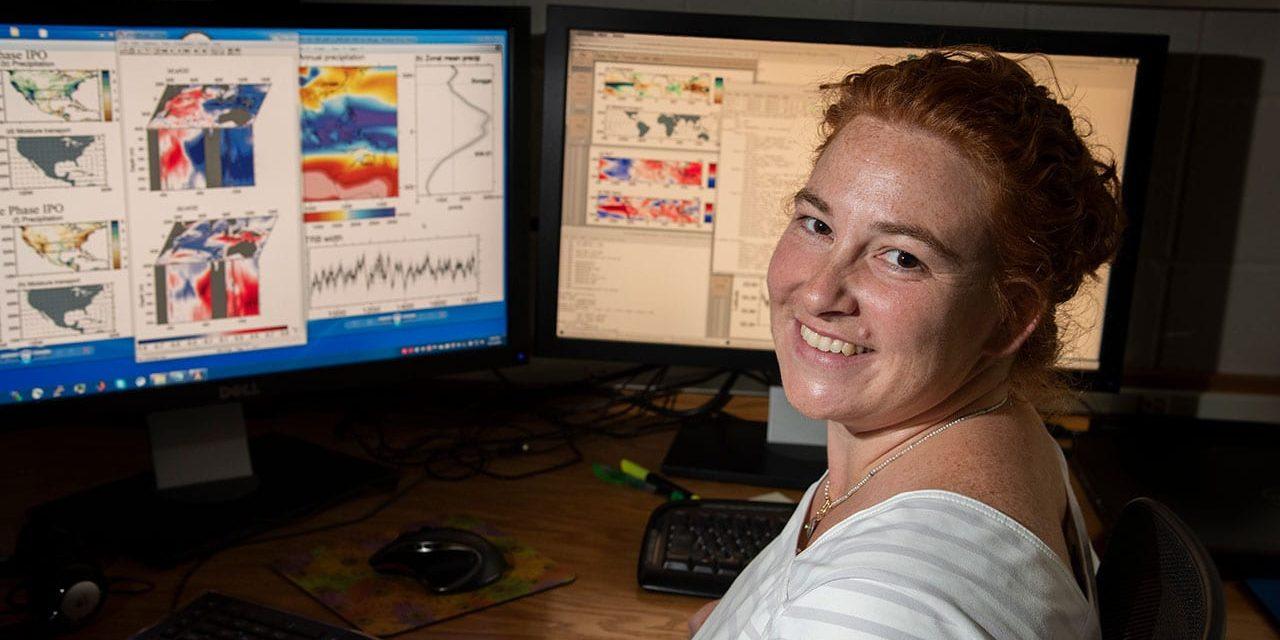 Caroline Ummenhofer at computer with climate models